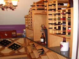 wine racks in finished basements